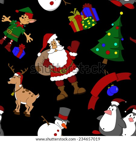 Seamless pattern with cartoon Christmas characters. Santa Claus, snowman, deer, elf, penguins, Christmas tree and holiday presents. Fully editable. - stock vector