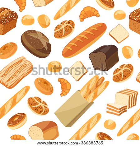 Seamless pattern with cartoon food: bread - rye bread, ciabatta, wheat bread, whole grain bread, bagel, sliced bread, french baguette, croissant and so. Vector illustration, isolated on white, eps 10.