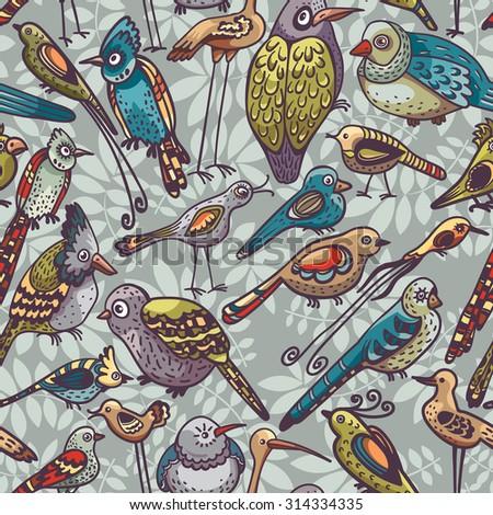 Seamless pattern with cartoon funny birds. Vector childish wallpaper. - stock vector