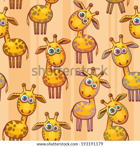 Seamless pattern with cartoon funny giraffes. Childish vector wallpaper. - stock vector