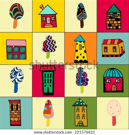 Seamless pattern with cartoon houses and trees. Set of hand drawn houses and trees, doodled city, town doodles set. Private residential architecture. Vector Illustration