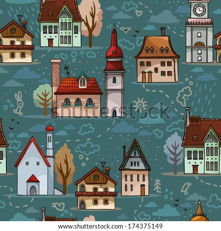Seamless pattern with cartoon houses on a blue background.