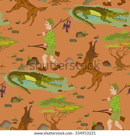 Seamless pattern with cartoon hunters, wolfs and alligators. Humor vector illustration.