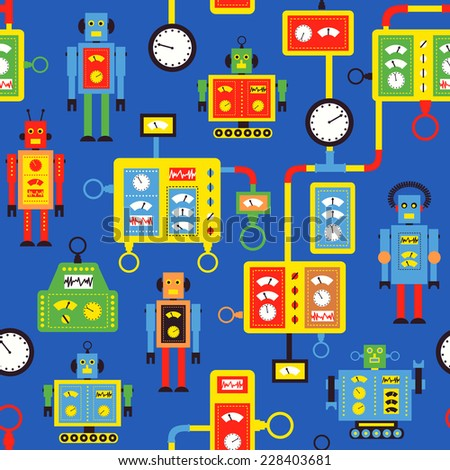 Seamless pattern with cartoon retro robots and machines. Vector Illustration.  - stock vector