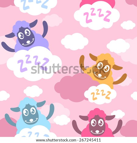 Seamless pattern with cartoon sheep on the clouds - stock vector