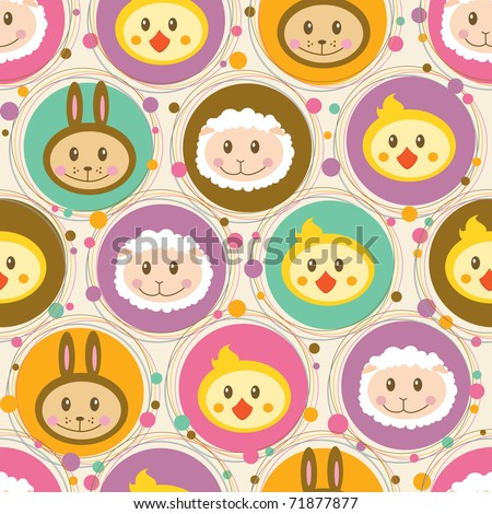 Seamless pattern with cartoon toys - stock vector
