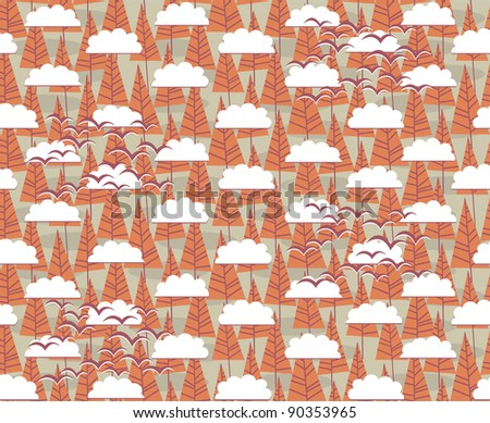 seamless pattern with cartoon trees, clouds and birds