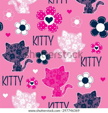 seamless pattern with cat and flowers vector illustration - stock vector