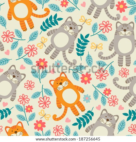 Seamless pattern with cats. - stock vector