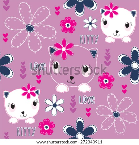 seamless pattern with cats and flowers vector illustration - stock vector
