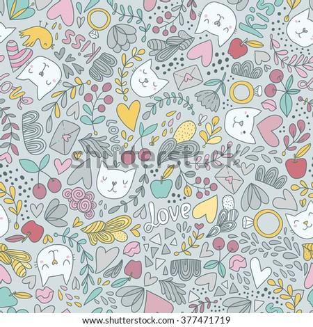 Seamless pattern with cats, flowers, cherry, berries, leaves, lips and engagement rings.