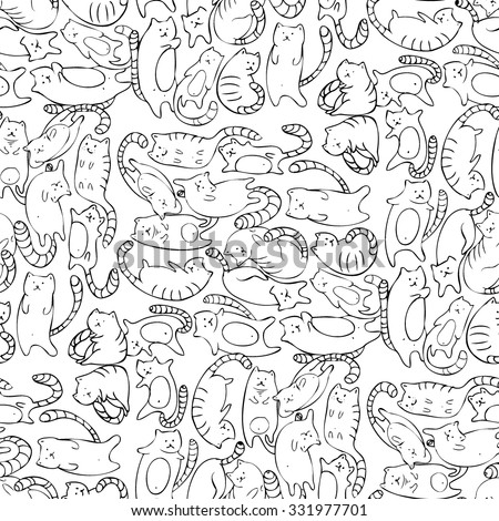 Seamless pattern with cats. Hand drawn black and white graphic