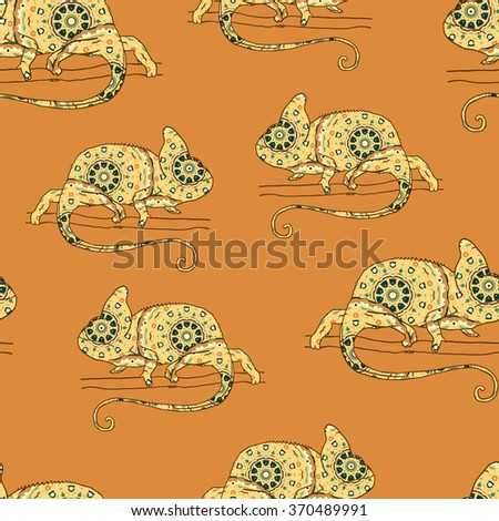 Seamless pattern with chameleon. Vector illustration of reptile with hand drawn pattern - stock vector
