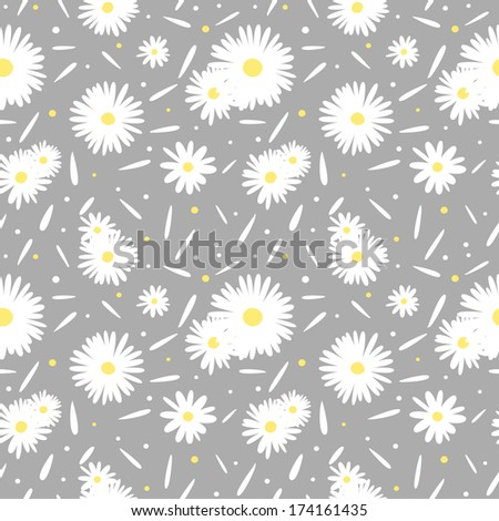 Seamless pattern with chamomiles on grey background - stock vector