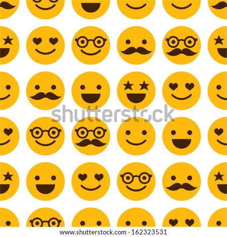 Seamless pattern with cheerful and happy smileys for textiles, interior design, for book design, website background - stock vector