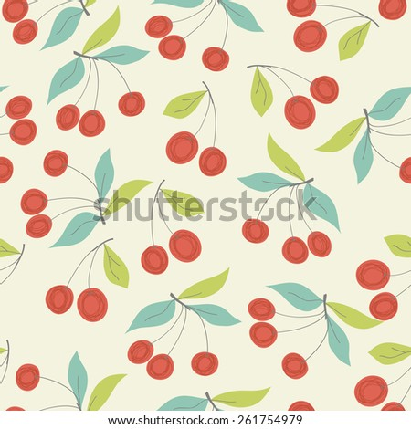 seamless pattern with cherries - stock vector