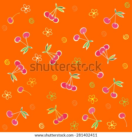 Seamless  pattern with cherries. Summer fruit illustration. Vector Illustration - stock vector