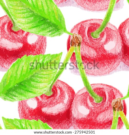 Seamless pattern with cherry. Color pencils illustration.  - stock vector