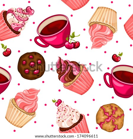 Seamless pattern with cherry cupcakes, coffee and cookies - stock vector