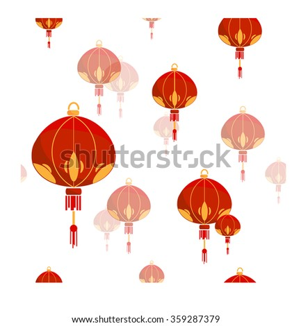 Seamless pattern with Chinese lantern. Flat vector graphics.