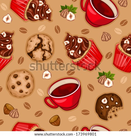 Seamless pattern with chocolate cupcake, cookies, coffee and hazelnuts - stock vector