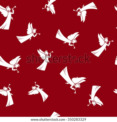 Seamless Pattern with Christmas Angel  ,Christmas Angel  on a Red Background,  Vector Illustration - stock vector