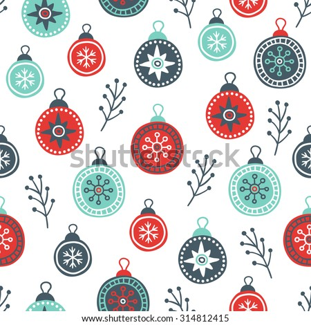 Seamless pattern with Christmas balls and branches in Red, Cyan and Grey. Perfect for wallpaper, gift paper, pattern fills, textile, Christmas and New Year greetings cards. - stock vector