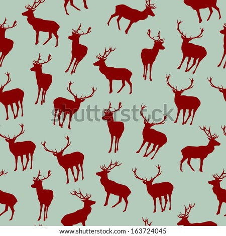 Seamless Pattern with Christmas Deers - stock vector