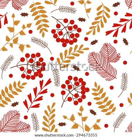 Seamless pattern with Christmas elements: pine, berries, leaves, in red and gold colors - stock vector