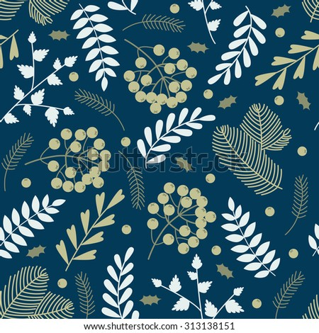 Seamless pattern with Christmas elements: pine, berries, leaves. Light elements on dark blue backdrop