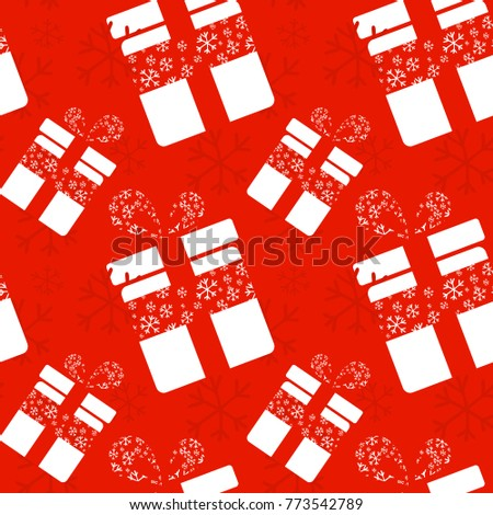 Seamless pattern with christmas gift box and snowflakes.