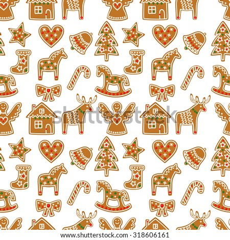 Seamless pattern with Christmas gingerbread cookies - Xmas tree, candy cane, angel, bell, sock, gingerbread men, star, heart, deer, rocking horse.Winter holiday vector Xmas design on white background. - stock vector