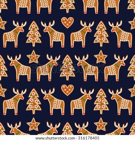 Seamless pattern with Christmas gingerbread cookies - xmas tree, star, heart, deer. Winter holiday vector design xmas background.