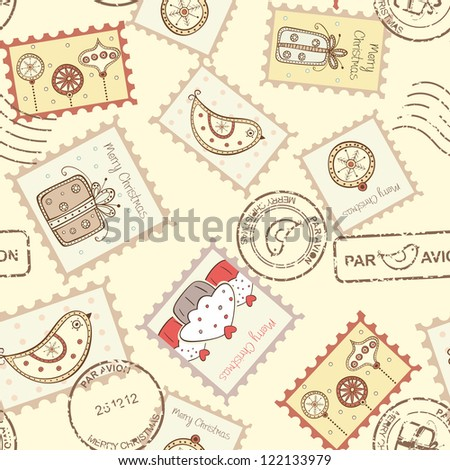 Seamless pattern with christmas post stamps on yellow background - stock vector
