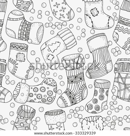 Seamless pattern with christmas socks. Artistically winter, christmas, zentangle patterns. Vector.  Hand-drawn design element. Pattern for coloring book. Made by trace from sketch.