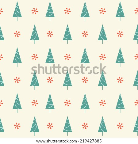 Seamless pattern with Christmas tree and snowflake for winter holidays design - stock vector