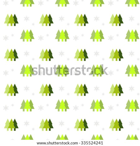 Seamless pattern with Christmas tree and snowflake vector - stock vector