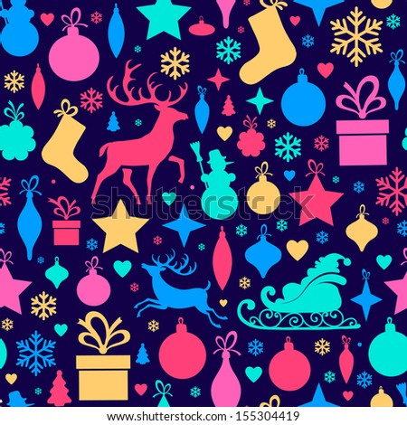 seamless pattern with Christmas tree decorations   - stock vector