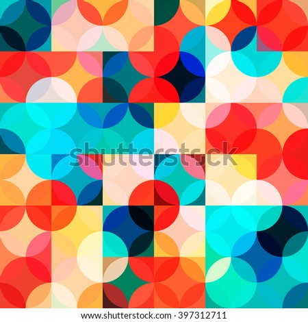 Seamless pattern with circles. Abstract background in bright colors. Vector illustration. A good choice for the background display, website, flyers, brochures and presentations in a modern style