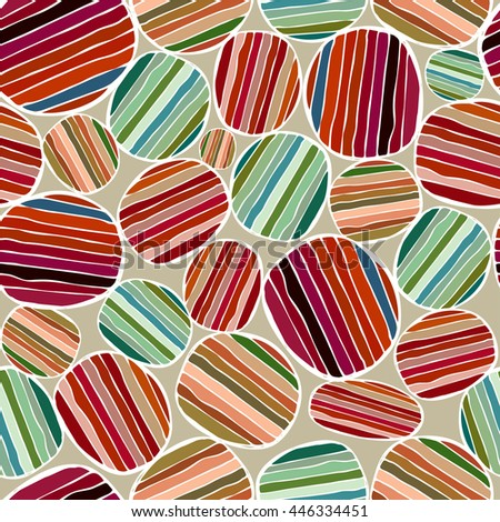 Seamless pattern with circles. Colored circles with stripes.