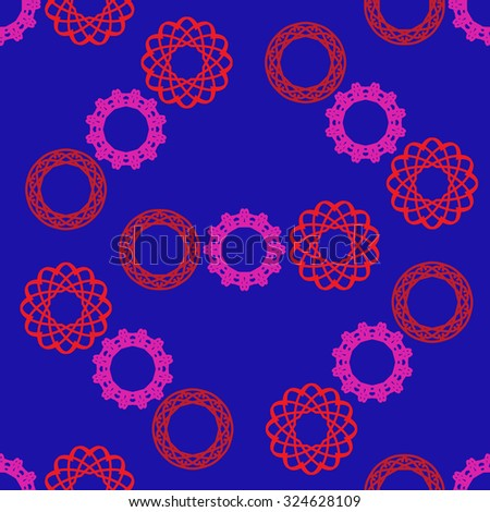 Seamless pattern with circular ornament on blue background - stock vector