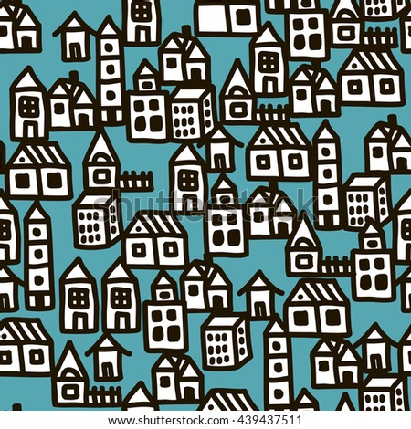 Seamless pattern with city buildings. Vector illustration. - stock vector