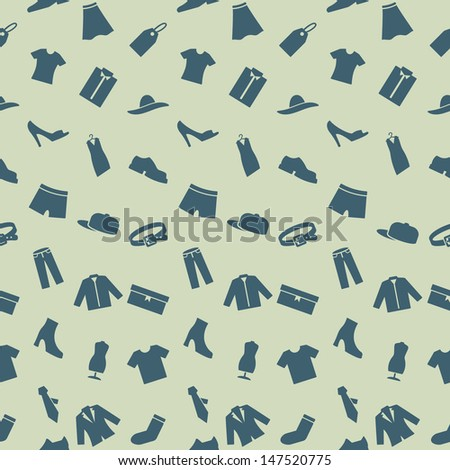 Seamless pattern with clothes, footwear and accessories. Endless pattern can be used for wallpaper, web design and background, printing on the surface paper or cloth. - stock vector