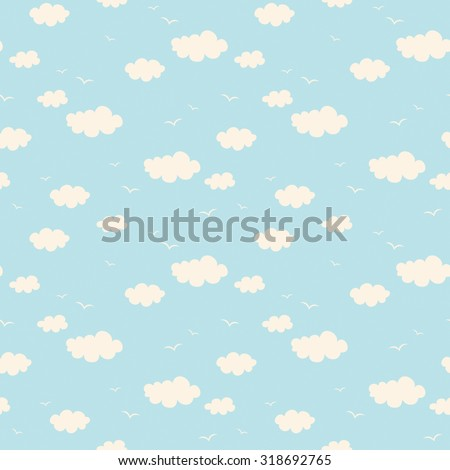 seamless pattern with clouds and birds - stock vector