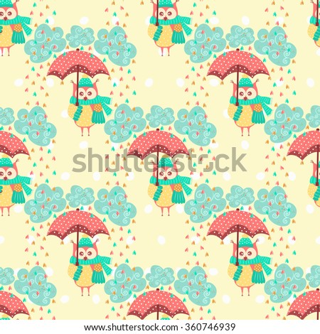 Seamless pattern with clouds and owls with an umbrella - stock vector