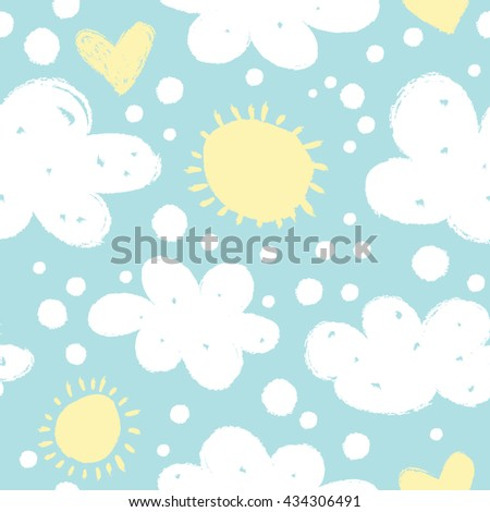 Seamless pattern with clouds and sun. - stock vector