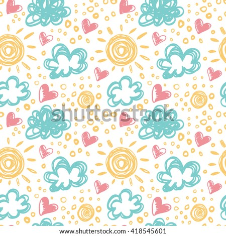 Seamless pattern with clouds, sun and hearts.