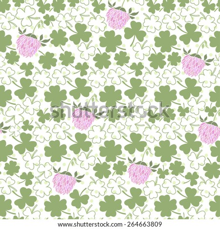 Seamless pattern with clover on the  polka dots background  - stock vector