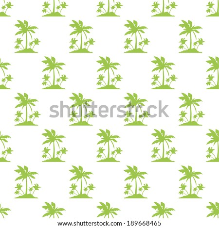 Seamless Pattern with Coconut Palm Trees. Endless Print Silhouette Texture. Ecology. Forest. Hand Drawing. Green.Vector.