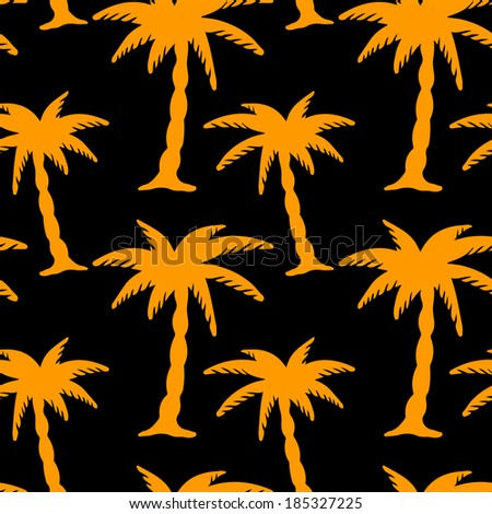 Seamless Pattern with Coconut Palm Trees. Endless Print Silhouette Texture. Forest. Hand Drawing. Retro. Vintage Style - vector